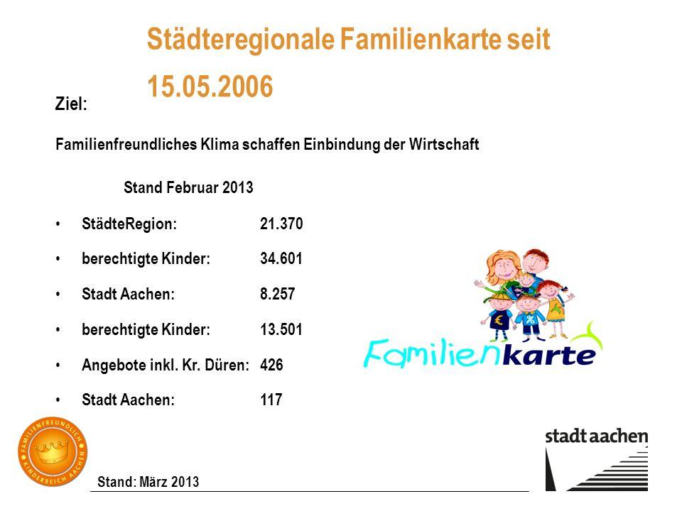 Städteregionale Familienkarte seit 15.05.2006