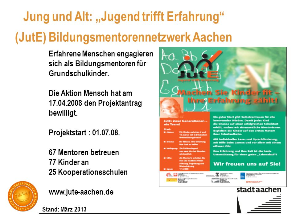"""Jung und Alt: """"Jugend trifft Erfahrung (JutE) Bildungsmentorennetzwerk Aachen"""