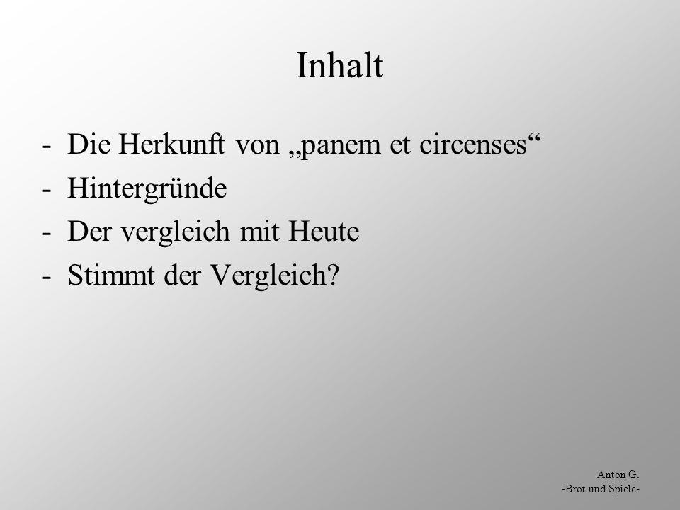 """Inhalt Die Herkunft von """"panem et circenses Hintergründe"""