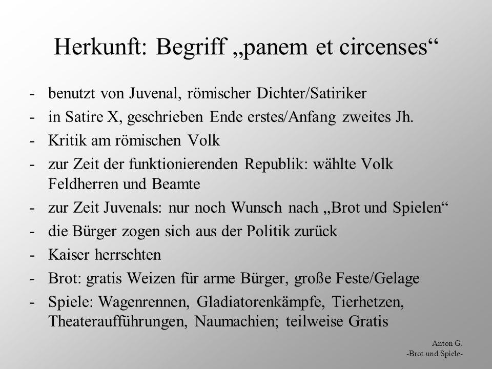"""Herkunft: Begriff """"panem et circenses"""