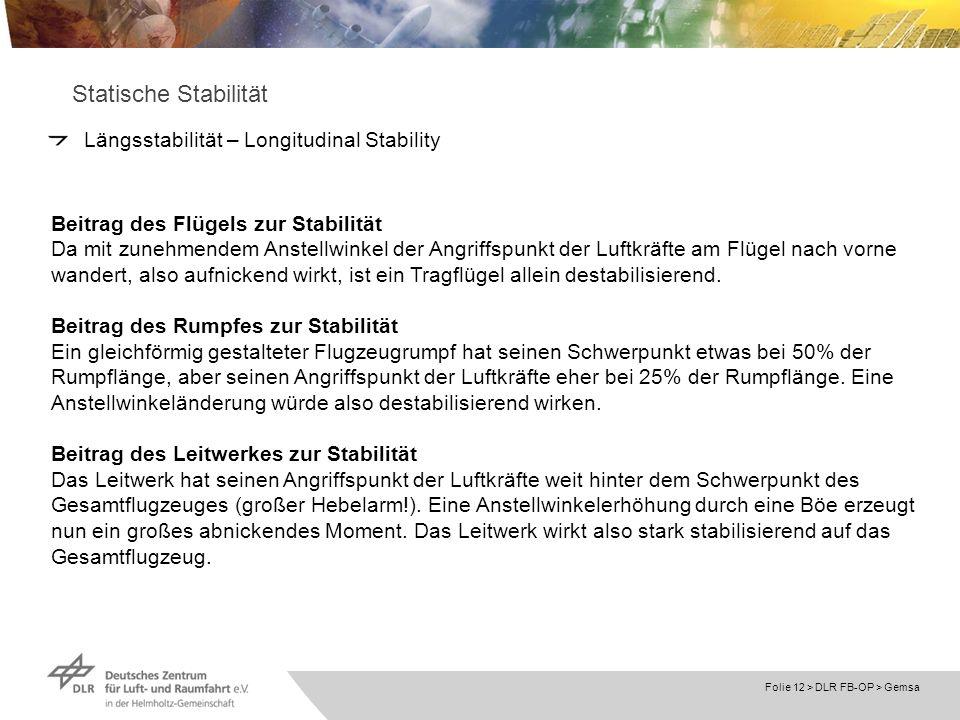 Statische Stabilität Längsstabilität – Longitudinal Stability