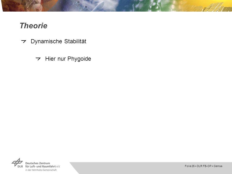 Theorie Dynamische Stabilität Hier nur Phygoide