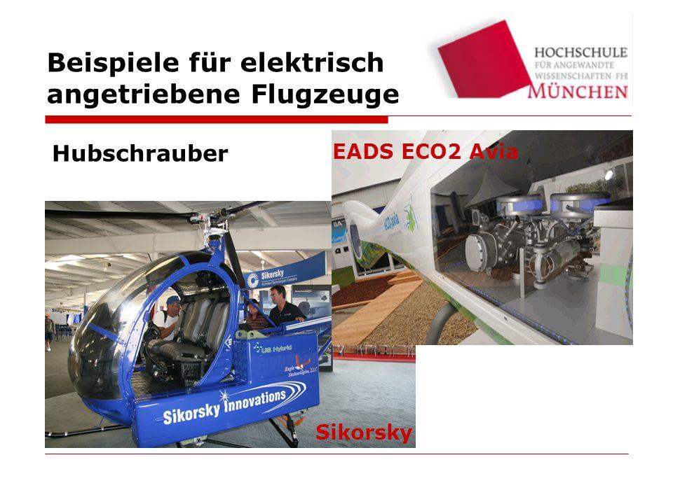 Beispiele für elektrisch angetriebene Flugzeuge