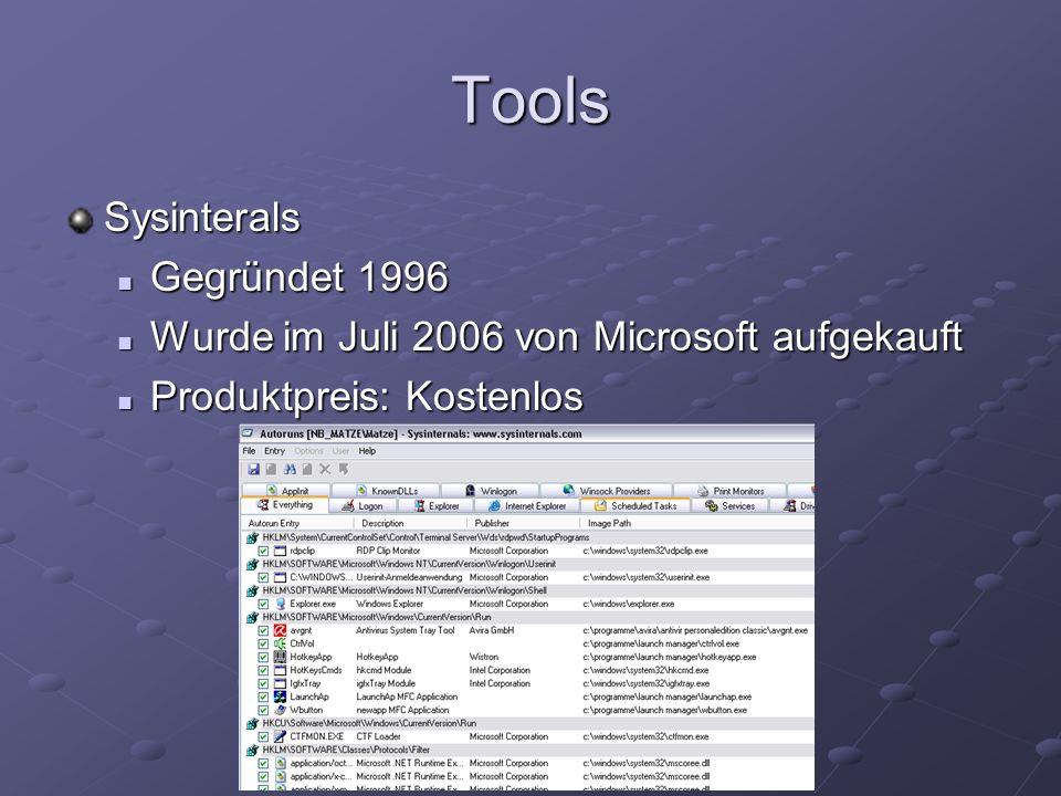 Tools Sysinterals Gegründet 1996