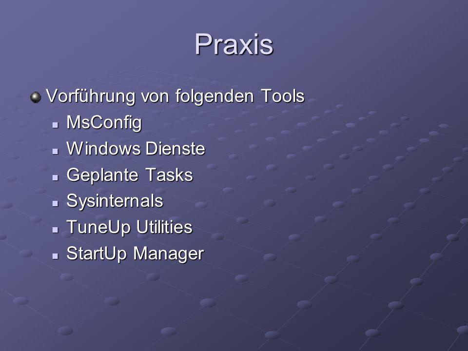 Praxis Vorführung von folgenden Tools MsConfig Windows Dienste