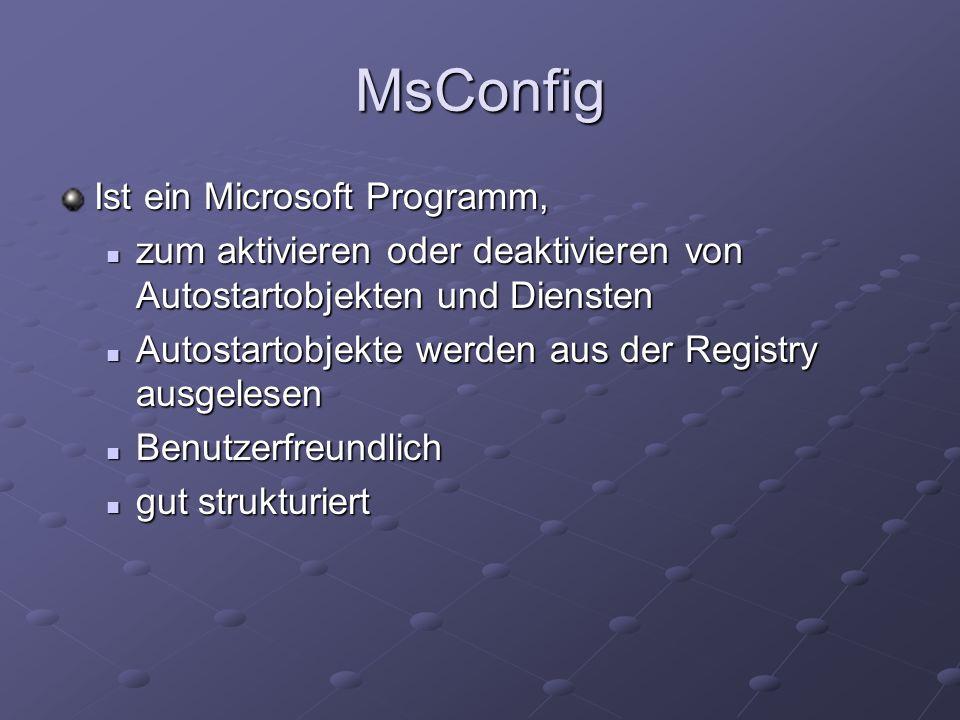 MsConfig Ist ein Microsoft Programm,