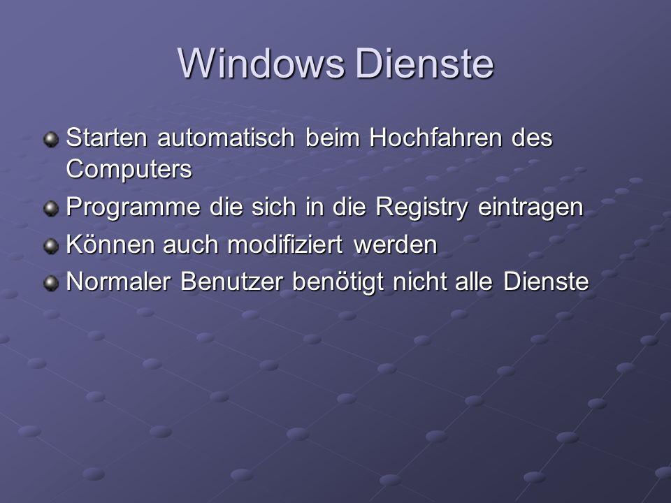 Windows Dienste Starten automatisch beim Hochfahren des Computers