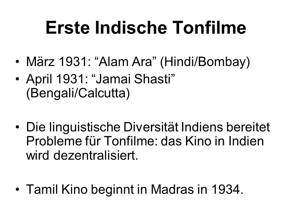 Erste Indische Tonfilme