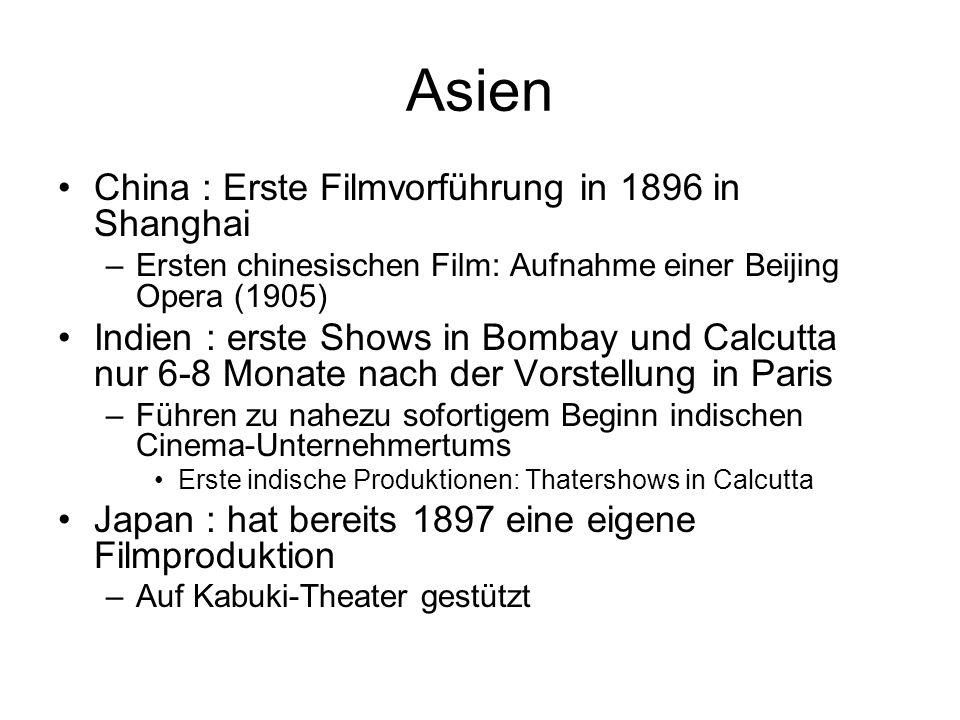 Asien China : Erste Filmvorführung in 1896 in Shanghai