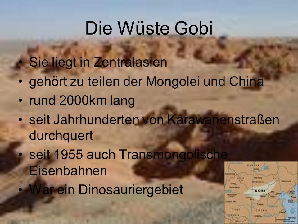 Die Wüste Gobi Sie liegt in Zentralasien