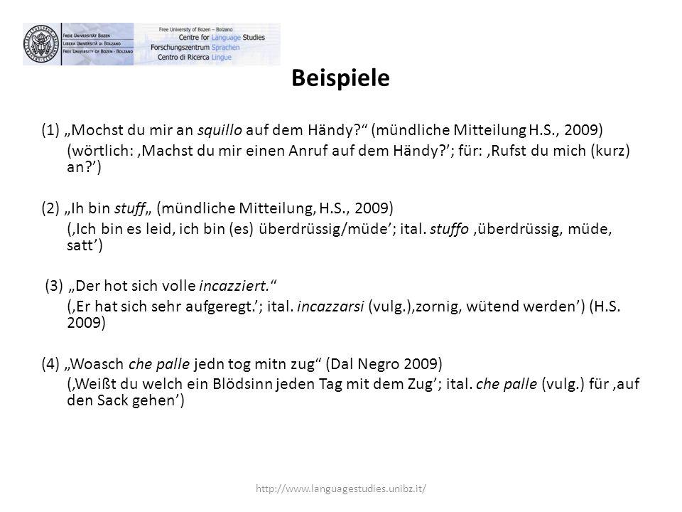 """Beispiele (1) """"Mochst du mir an squillo auf dem Händy (mündliche Mitteilung H.S., 2009)"""