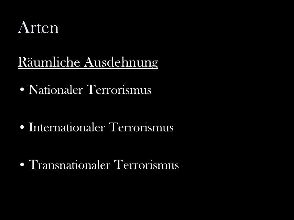 Arten Räumliche Ausdehnung Nationaler Terrorismus