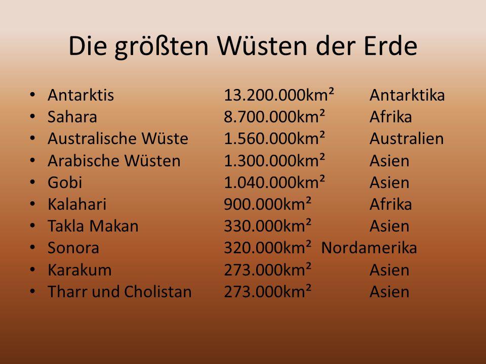 Die größten Wüsten der Erde