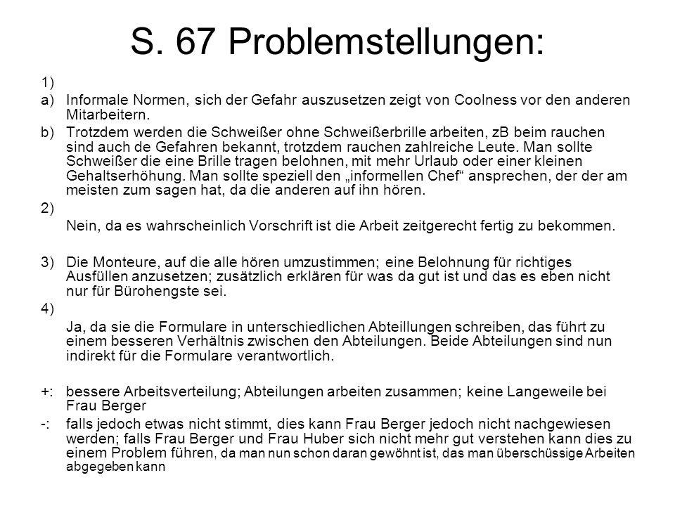 S. 67 Problemstellungen: 1)