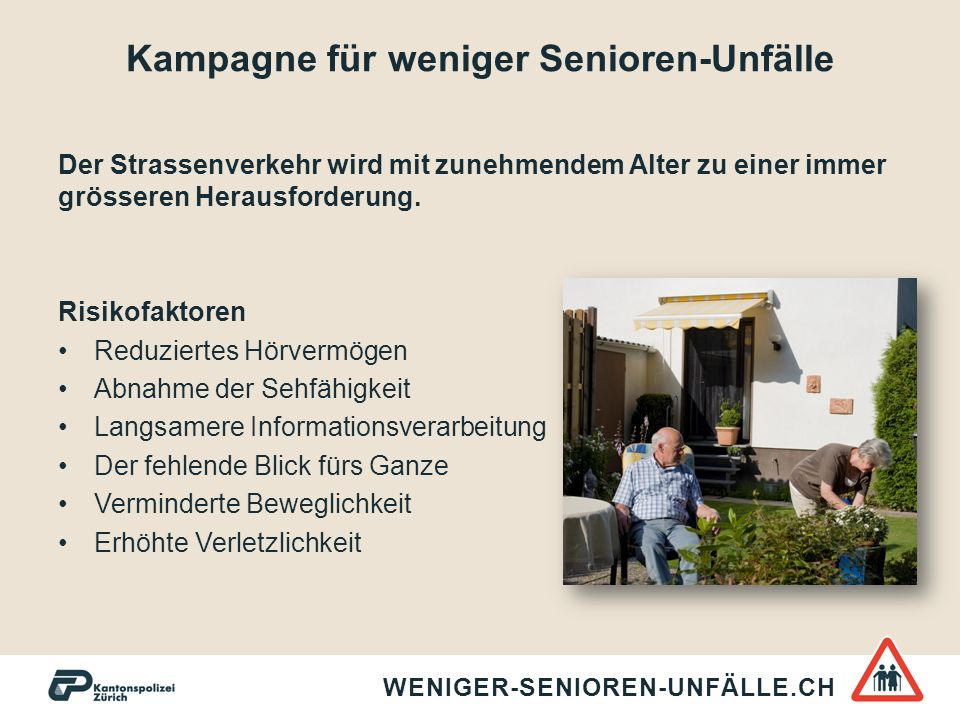 Kampagne für weniger Senioren-Unfälle