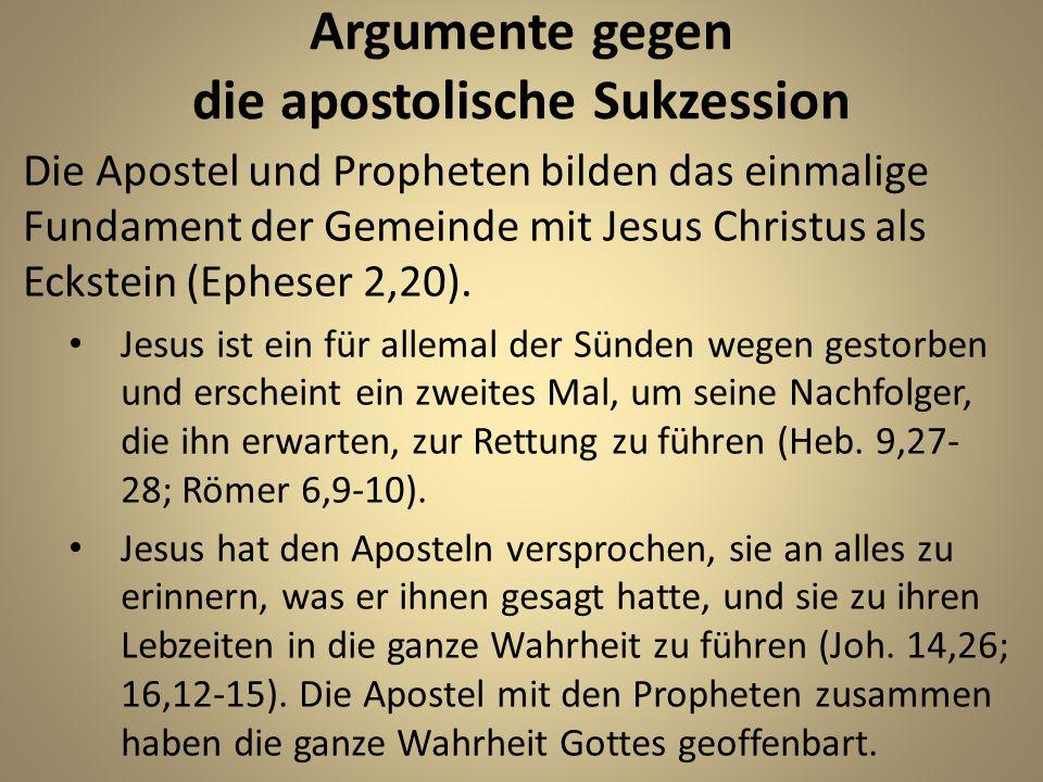 Argumente gegen die apostolische Sukzession