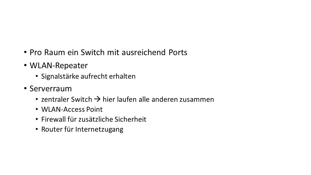 Pro Raum ein Switch mit ausreichend Ports WLAN-Repeater Serverraum