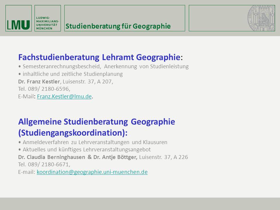 Fachstudienberatung Lehramt Geographie: