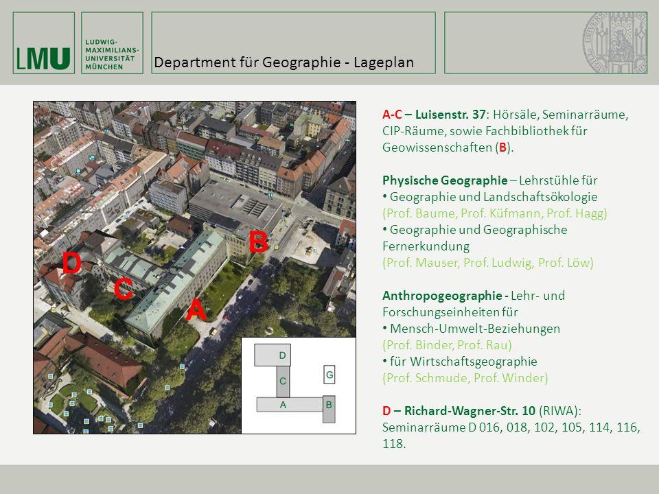 Department für Geographie - Lageplan