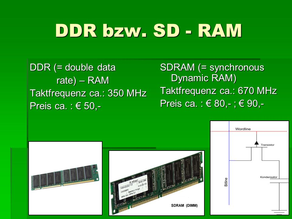 DDR bzw. SD - RAM DDR (= double data rate) – RAM