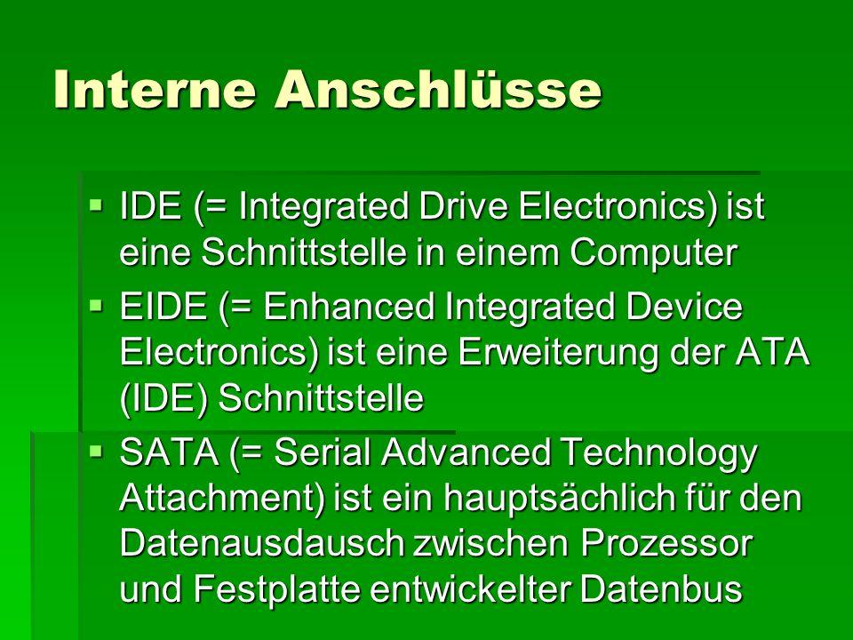 RAM + ROM 23.04.2007. Interne Anschlüsse. IDE (= Integrated Drive Electronics) ist eine Schnittstelle in einem Computer.
