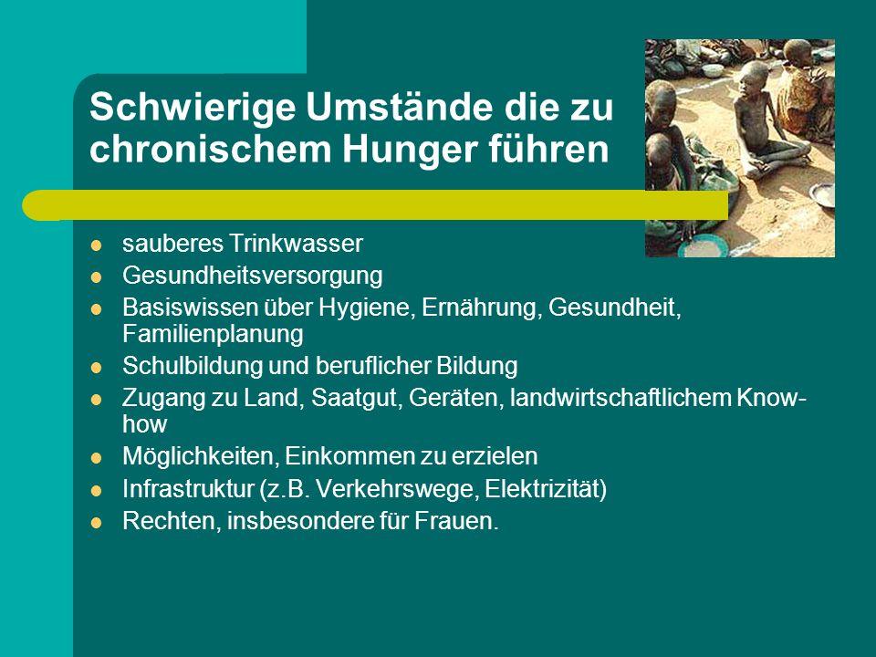 Schwierige Umstände die zu chronischem Hunger führen