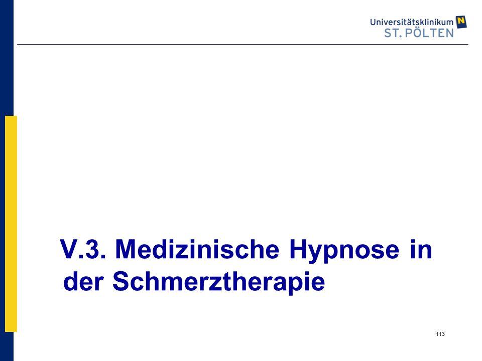 V.3. Medizinische Hypnose in der Schmerztherapie