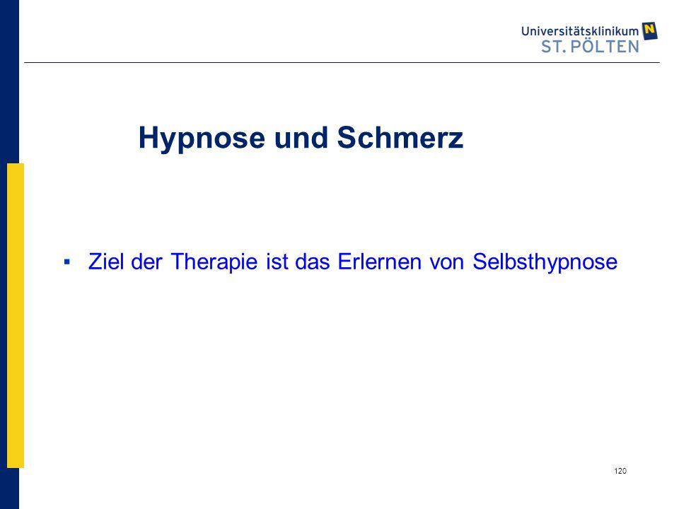 Hypnose und Schmerz Ziel der Therapie ist das Erlernen von Selbsthypnose