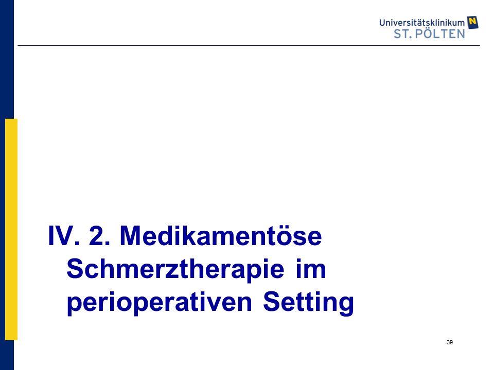 IV. 2. Medikamentöse Schmerztherapie im perioperativen Setting