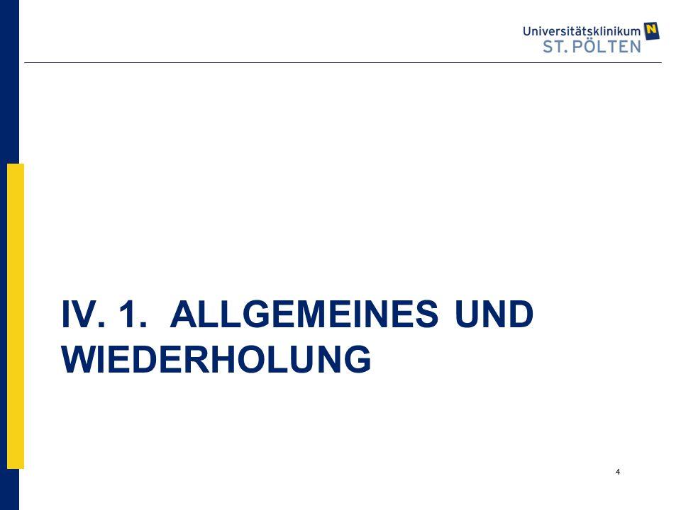 IV. 1. ALLGEMEINES UND WIEDERHOLUNG