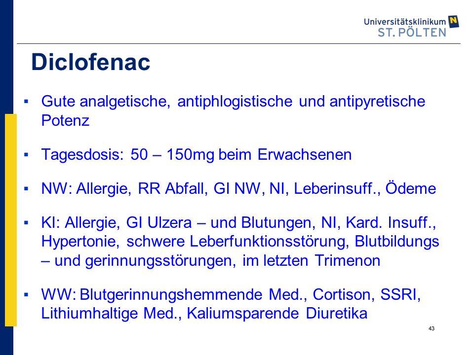 Diclofenac Gute analgetische, antiphlogistische und antipyretische Potenz. Tagesdosis: 50 – 150mg beim Erwachsenen.