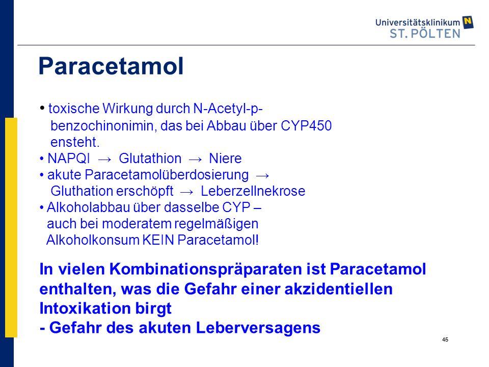 Paracetamol toxische Wirkung durch N-Acetyl-p-