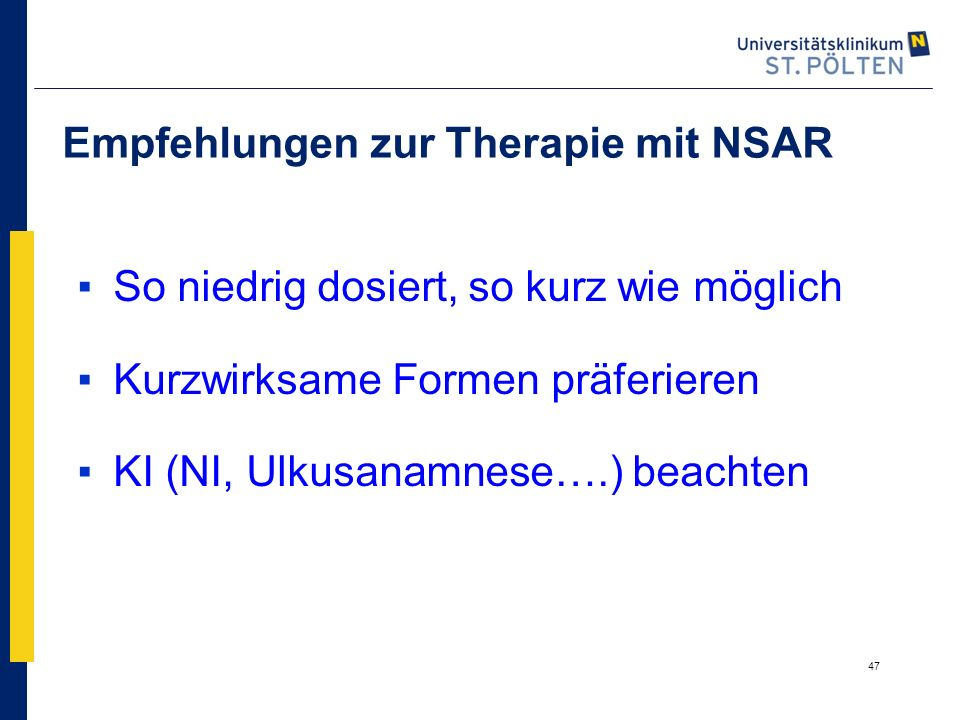 Empfehlungen zur Therapie mit NSAR