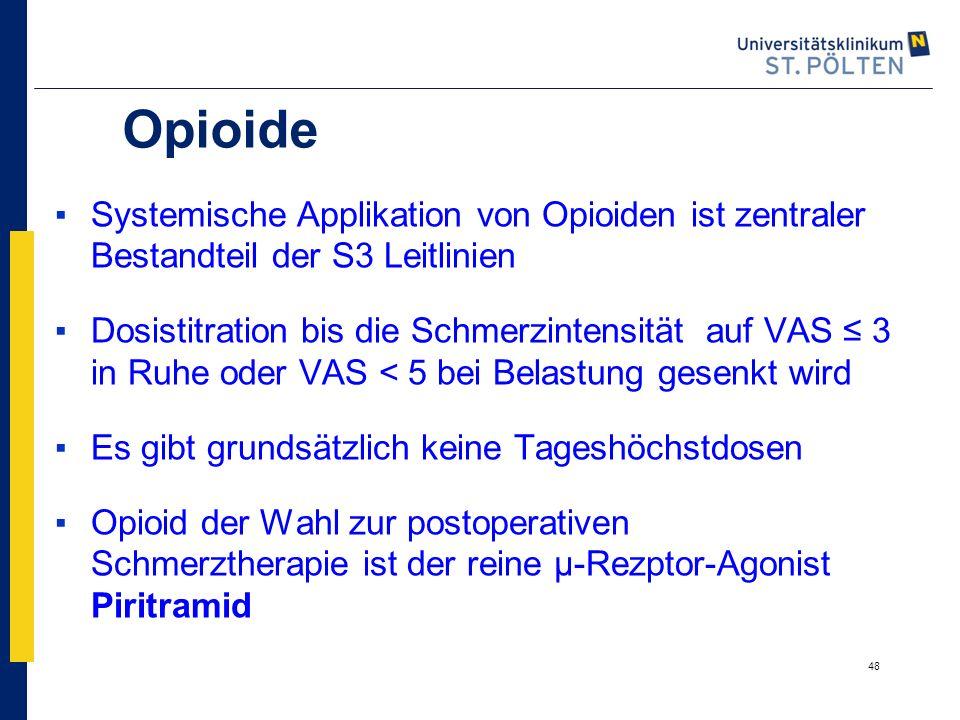 Opioide Systemische Applikation von Opioiden ist zentraler Bestandteil der S3 Leitlinien.