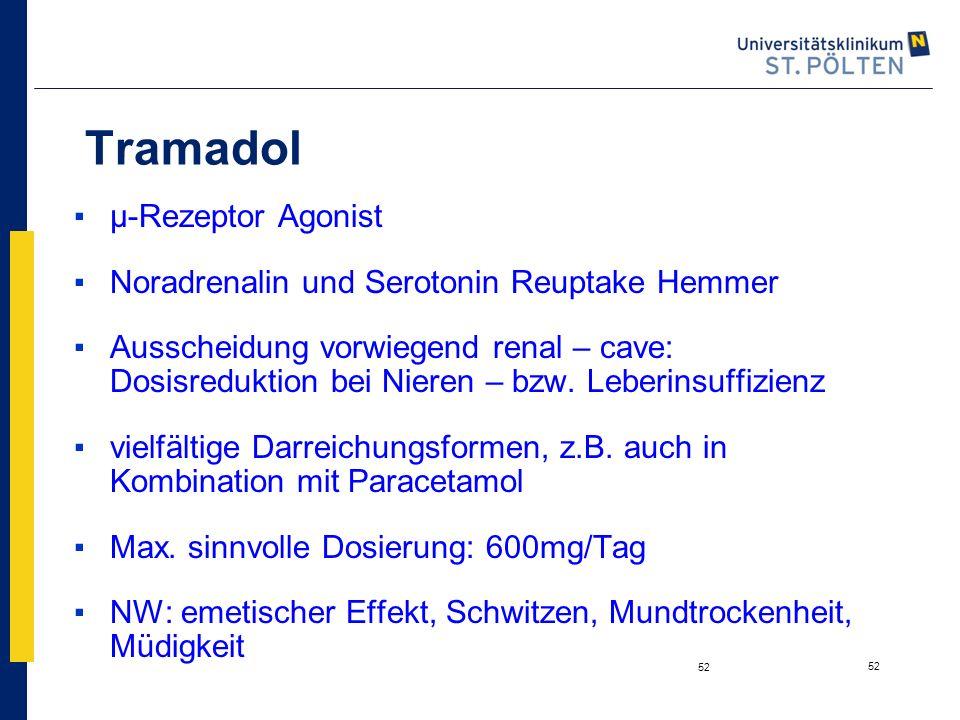 Tramadol µ-Rezeptor Agonist Noradrenalin und Serotonin Reuptake Hemmer