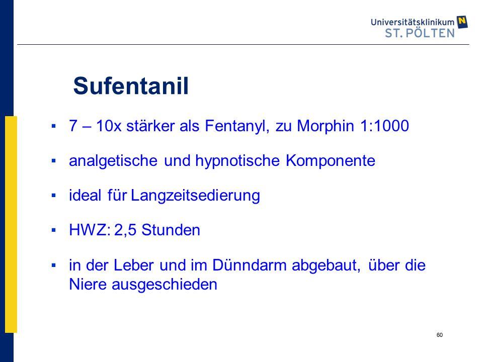 Sufentanil 7 – 10x stärker als Fentanyl, zu Morphin 1:1000