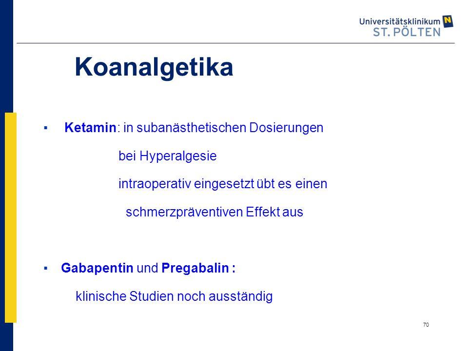 Koanalgetika Ketamin: in subanästhetischen Dosierungen
