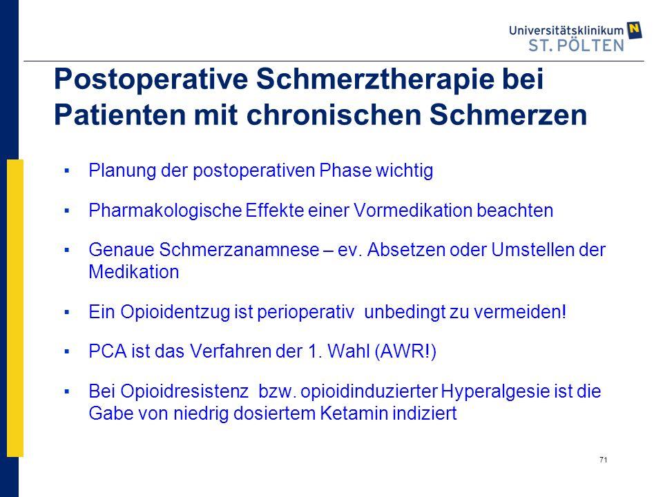 Postoperative Schmerztherapie bei Patienten mit chronischen Schmerzen