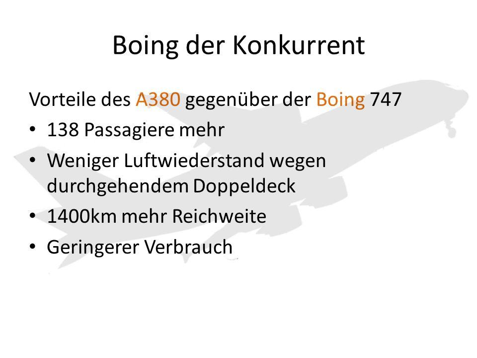 Boing der Konkurrent Vorteile des A380 gegenüber der Boing 747