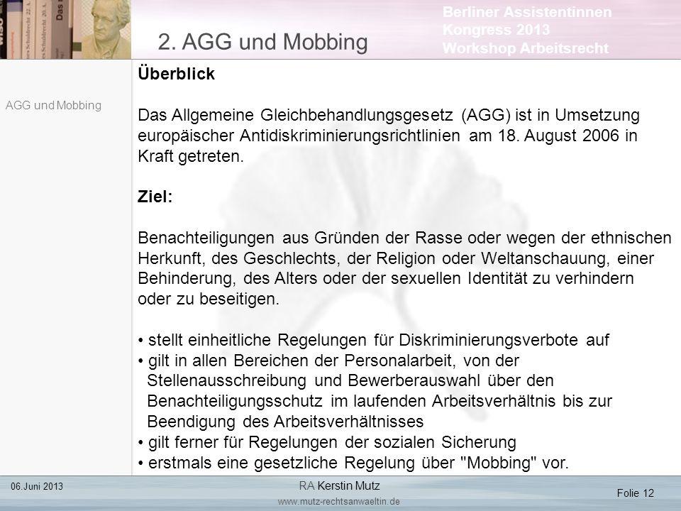 2. AGG und Mobbing Überblick