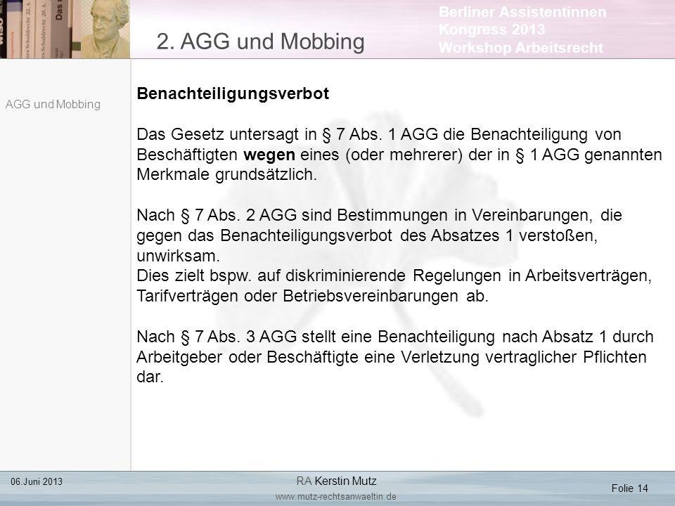 2. AGG und Mobbing Benachteiligungsverbot