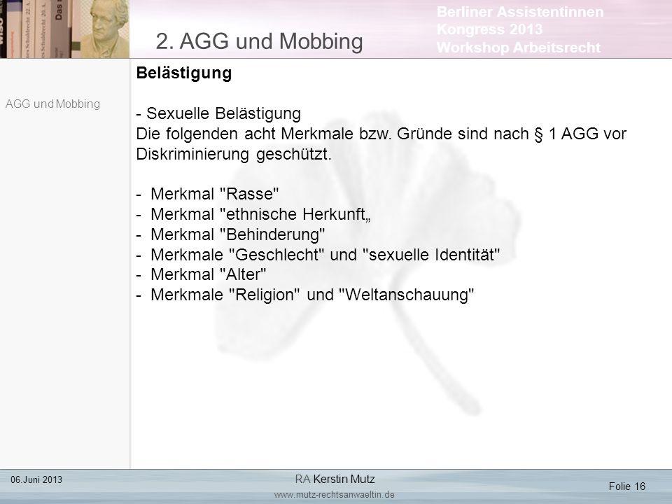 2. AGG und Mobbing Belästigung Sexuelle Belästigung