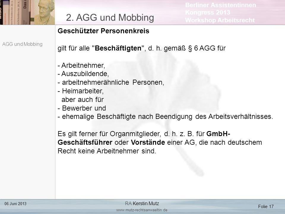 2. AGG und Mobbing Geschützter Personenkreis