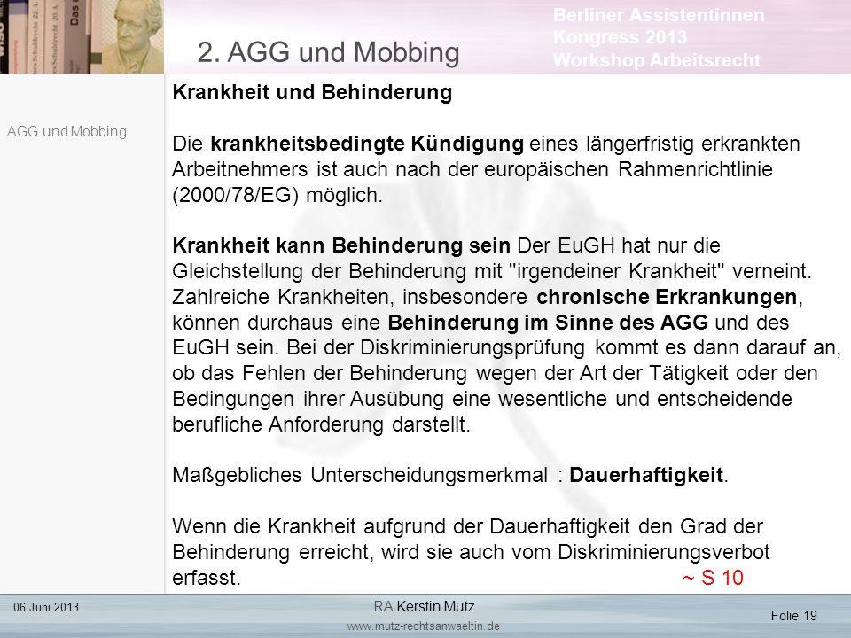 2. AGG und Mobbing Krankheit und Behinderung
