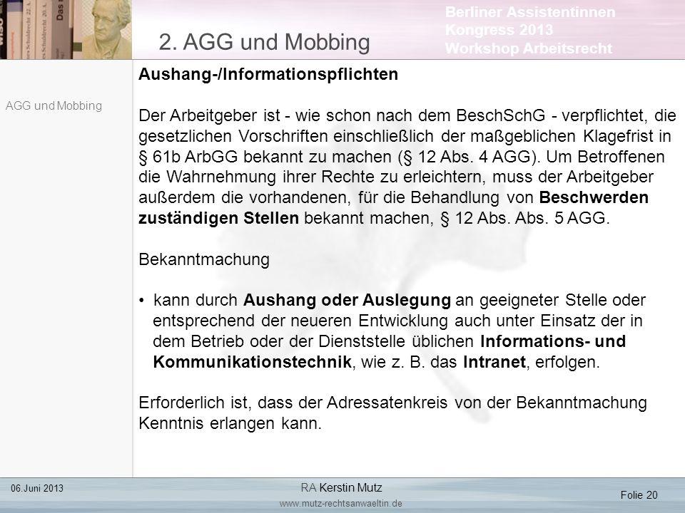 2. AGG und Mobbing Aushang-/Informationspflichten