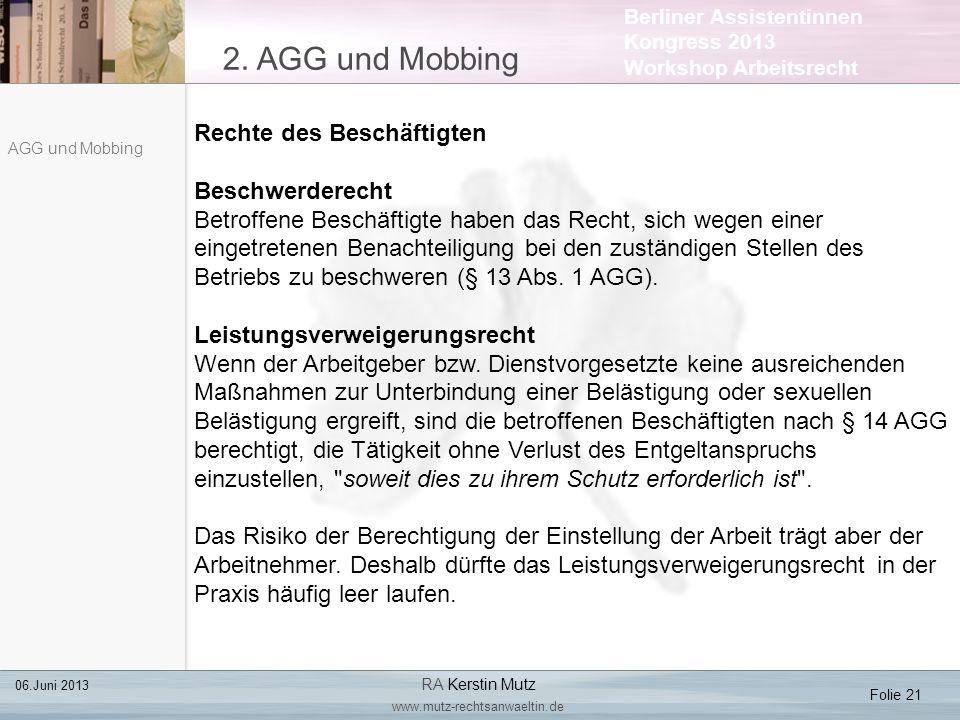 2. AGG und Mobbing Rechte des Beschäftigten Beschwerderecht