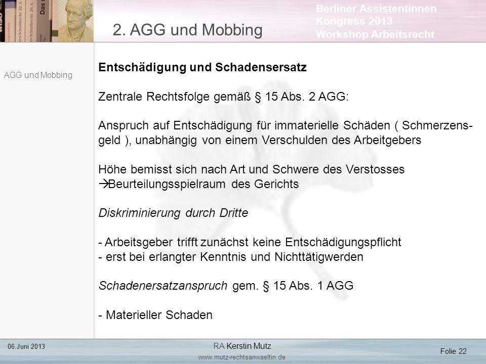 2. AGG und Mobbing Entschädigung und Schadensersatz