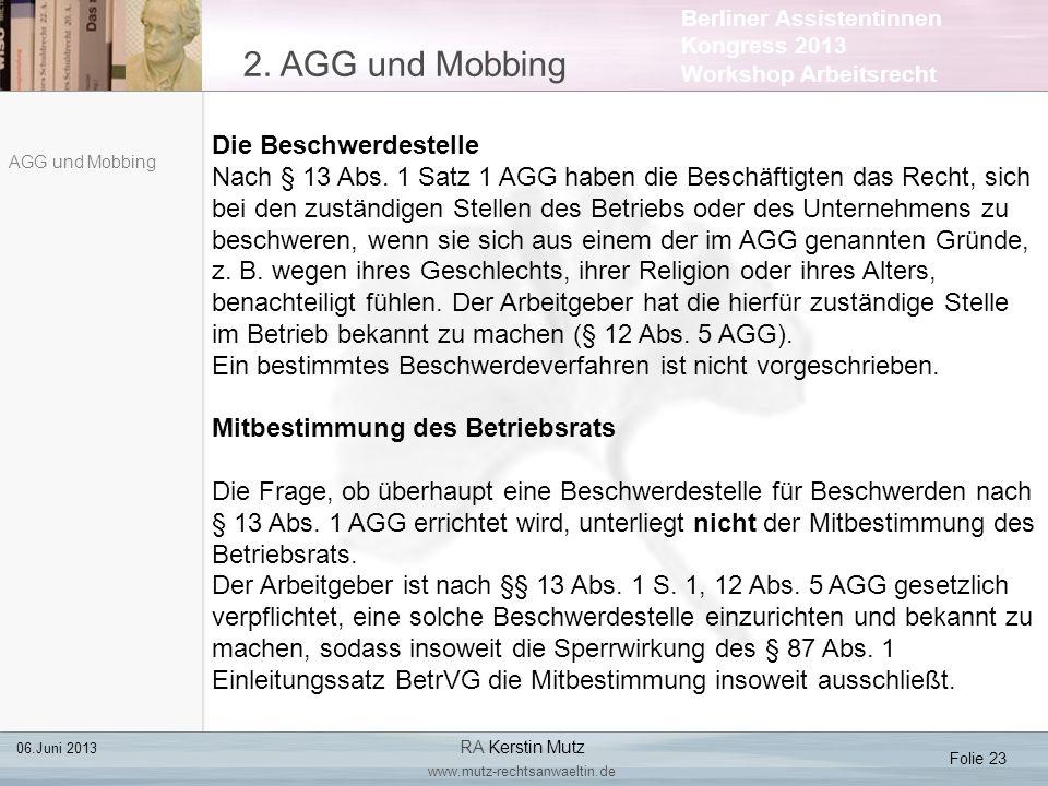 2. AGG und Mobbing Die Beschwerdestelle