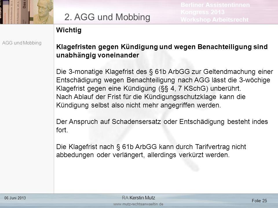 2. AGG und Mobbing Wichtig