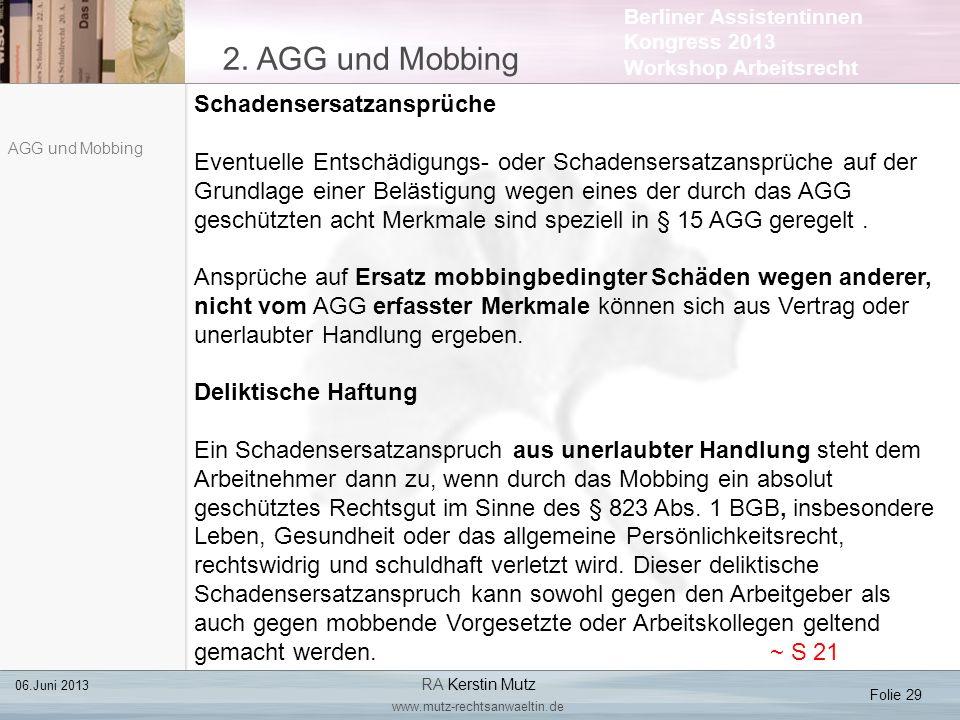 2. AGG und Mobbing Schadensersatzansprüche